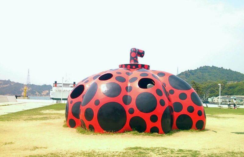 Red Pumpkin by Yayoi Kusama in Naoshima island