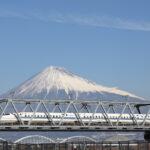Shinkansen and Mt. Fuji in Shizuoka